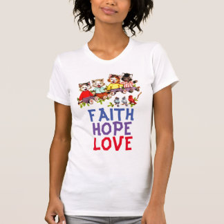 FAITH HOPE LOVE, Christian Cat T-shirts