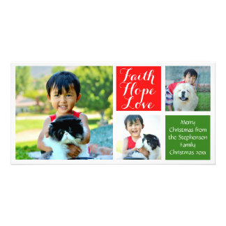Faith Hope Love Color Blocks Christmas 3-Pic Personalized Photo Card