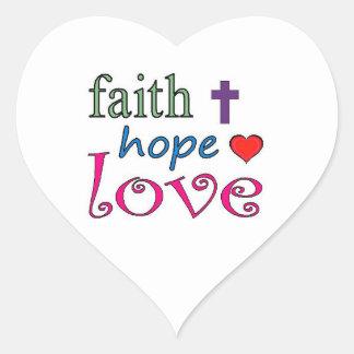 Faith Hope Love Cross Heart Heart Stickers
