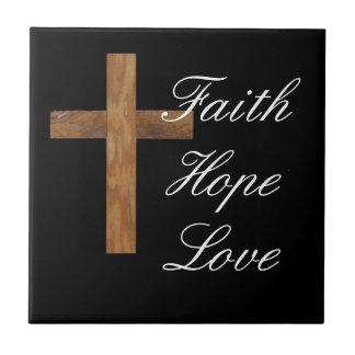 Faith Hope Love Cross Tile