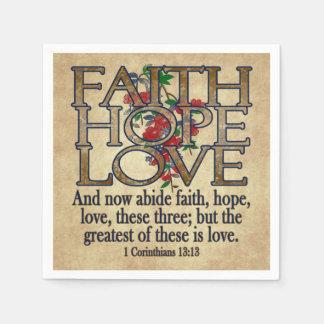 Faith Hope Love Elegant Bible Scripture Christian Napkin