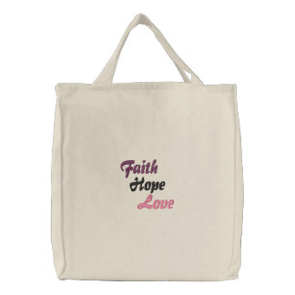Faith Hope Love Embroidered Tote Bags