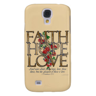 Faith Hope Love, Floral Design With Bible Verse