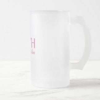 Faith,hope, love frosted glass beer mug