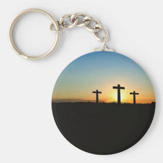 Faith, Hope,  & Love Jesus Christ Cross Basic Round Button Keychain