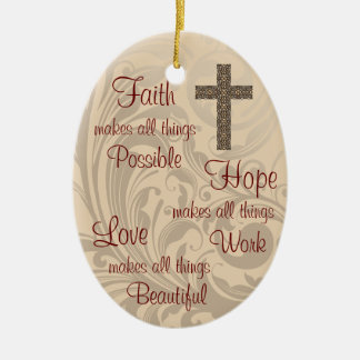 Faith Hope & Love Oval Ornament Ivory