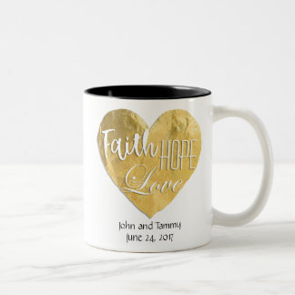 Faith Hope Love Personalized Wedding Two Toned Two-Tone Coffee Mug
