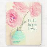 faith hope love ranunculus flowers 1 corinthias 13 mouse pads