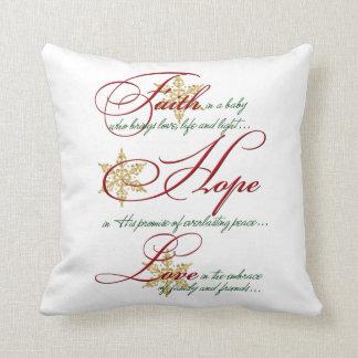 Faith, Hope, Love Red Green Gold Christmas Pillow