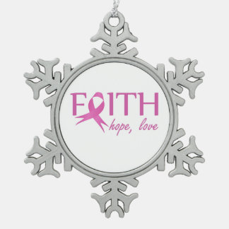 Faith,hope, love snowflake pewter christmas ornament