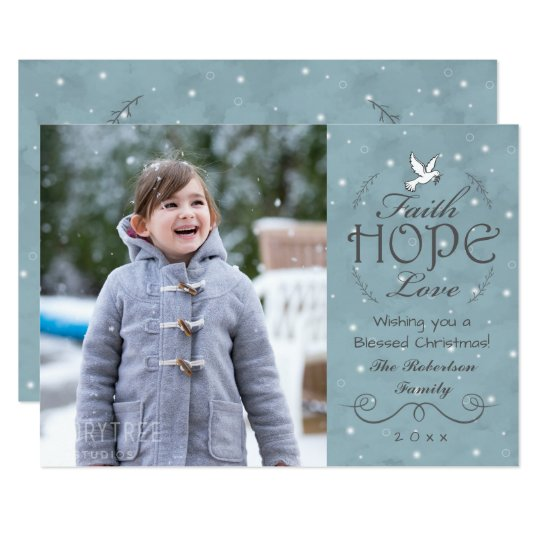 Faith Hope Love Snowflakes | Peace Dove Photo Card