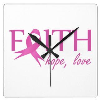 Faith,hope, love square wall clock