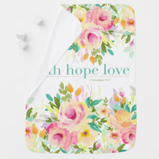 Faith Hope Love | Watercolor Floral Baby Blanket