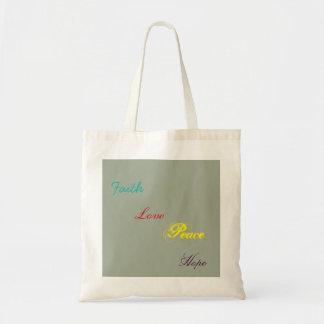 faith hope peace and love tote bag