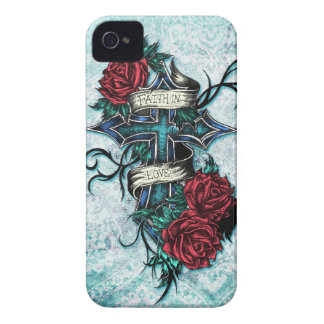 Faith in Love cross and roses in tattoo style. iPhone 4 Cover