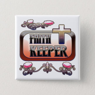 Faith Keeper Christian 2 Inch Square Button