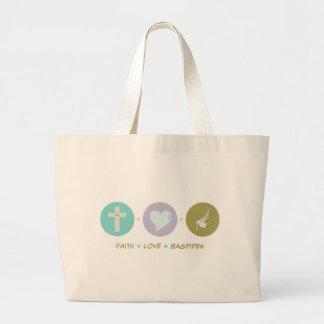 Faith Love Bagpipes Large Tote Bag