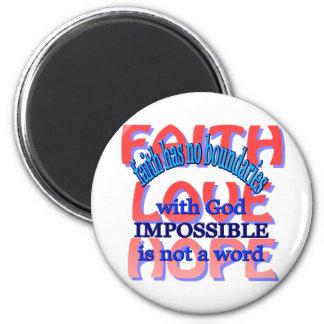 Faith Love Hope 2 Inch Round Magnet