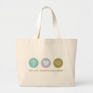 Faith Love Teaching the Visually Impaired Large Tote Bag