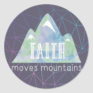 Faith Moves Mountains Purple Angles Classic Round Sticker