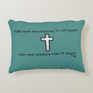 Faith Never Accent Pillow w/Black Outline Cross
