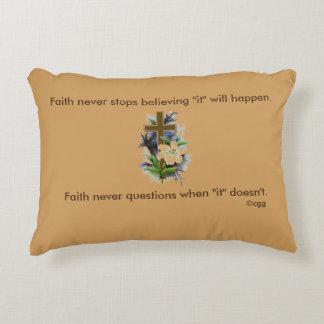 Faith Never Accent Pillow w/Blue Flower Cross