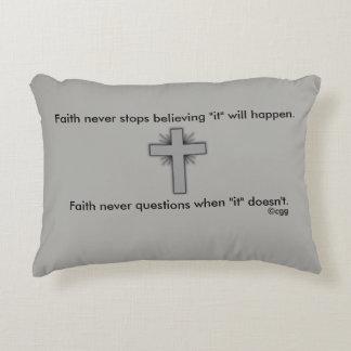 Faith Never Accent Pillow w/Grey Flared Cross