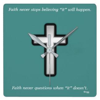 Faith Never Clock w/Black Outline Cross