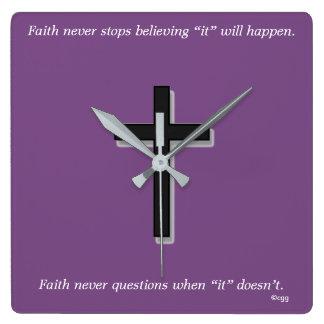 Faith Never Clock w/Black Solid Cross