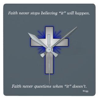 Faith Never Clock w/Blue Flared Cross