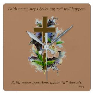 Faith Never Clock w/Blue Flower Cross