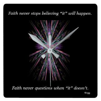 Faith Never Clock w/Feather Cross
