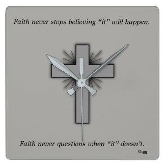 Faith Never Clock w/Gray Flared Cross