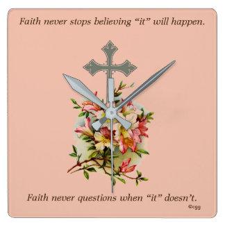 Faith Never Clock w/Pink Flower Cross