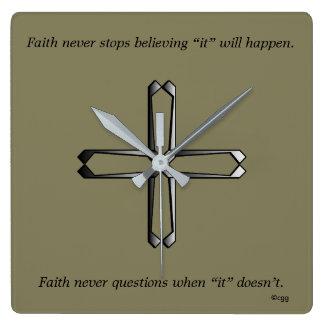 Faith Never Clock w/Steel Cross