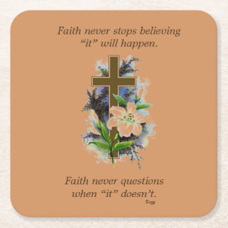 Faith Never Coasters w/Blue Flower cross