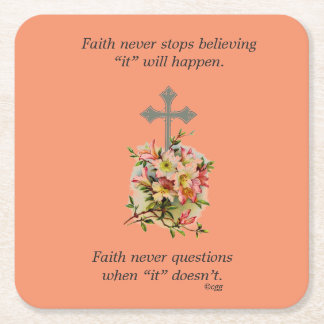 Faith Never Coasters w/Pink Flower Cross