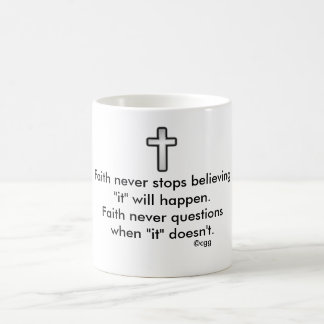 Faith Never Coffee Mug w/Black Outline Cross