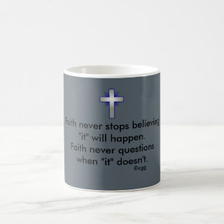 Faith Never Coffee Mug w/Blue Flared Cross