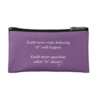 Faith Never Cosmetic Bag w/Black Solid Cross
