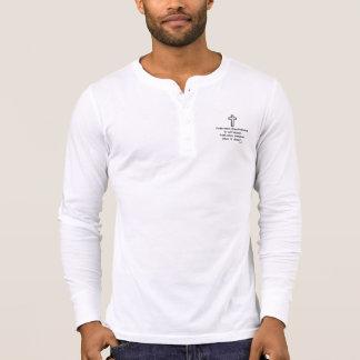 Faith Never Henley Long Sleeve Black Outline Cross T-Shirt