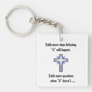 Faith Never Keychain w/Blue Flared Cross