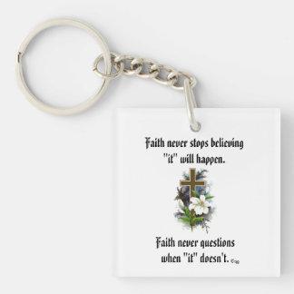 Faith Never Keychain w/Blue Flower Cross