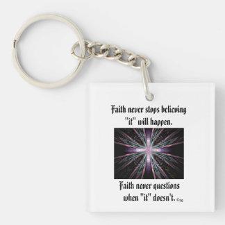 Faith Never Keychain w/Feather Cross