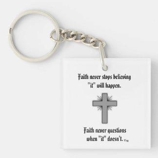 Faith Never Keychain w/Gray Flared Cross