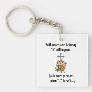 Faith Never Keychain w/Pink Flower Cross