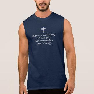 Faith Never Men's Sleeveless w/Blue Flared Cross Sleeveless Shirt