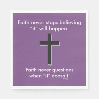 Faith Never Napkins w/Black Solid Cross Paper Napkin