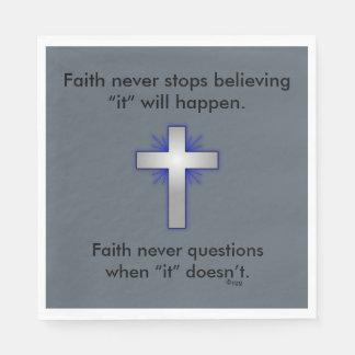 Faith Never Napkins w/Blue Flared Cross