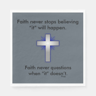 Faith Never Napkins w/Blue Flared Cross Paper Napkin